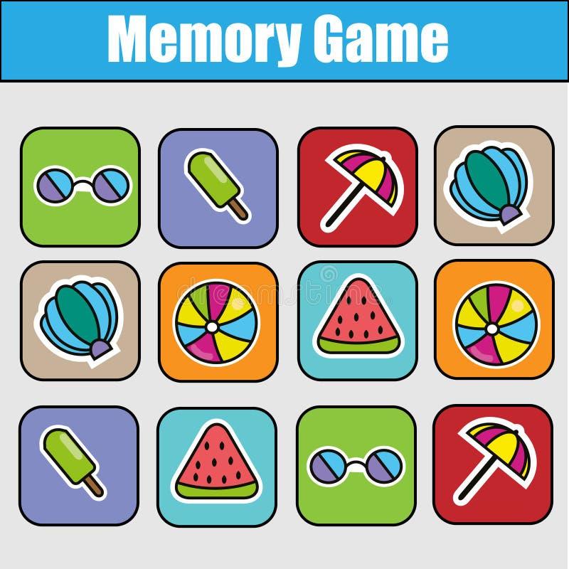 Εκπαιδευτικό παιχνίδι παιδιών, δραστηριότητα παιδιών Παιχνίδι μνήμης, θέμα καλοκαιρινών διακοπών διανυσματική απεικόνιση