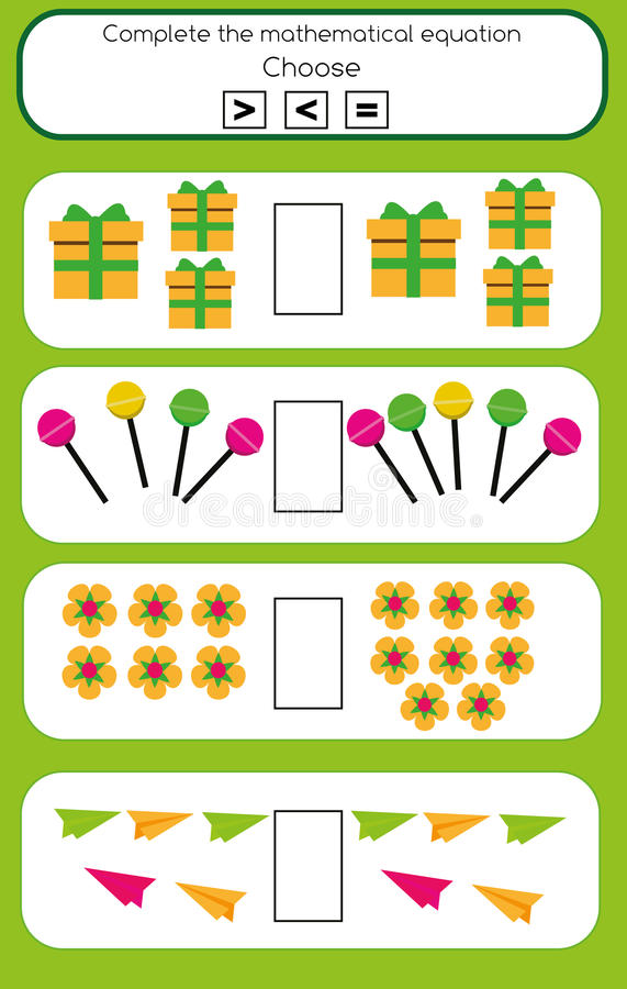 Εκπαιδευτικό παιχνίδι Math για τα παιδιά Ολοκληρώστε τη μαθηματική υποχρέωση εξίσωσης, επιλέξτε περισσότερων, λιγότερο ή τον ίσο απεικόνιση αποθεμάτων