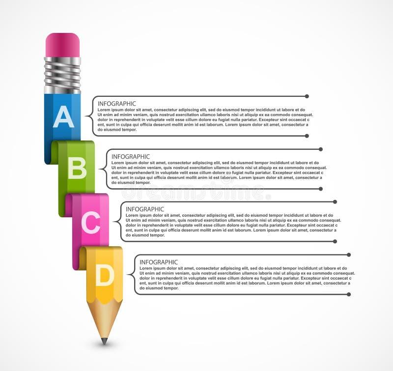 Εκπαιδευτικό πρότυπο Infographics με το μολύβι Infographics για το έμβλημα επιχειρησιακών παρουσιάσεων ή πληροφοριών ελεύθερη απεικόνιση δικαιώματος