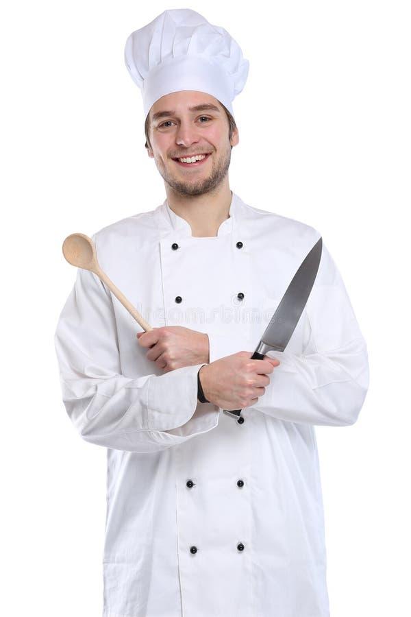 Εκπαιδευόμενο μαγείρεμα μαθητευόμενων μαγείρων με τις νεολαίες εργασίας μαχαιριών που απομονώνονται στοκ φωτογραφία με δικαίωμα ελεύθερης χρήσης