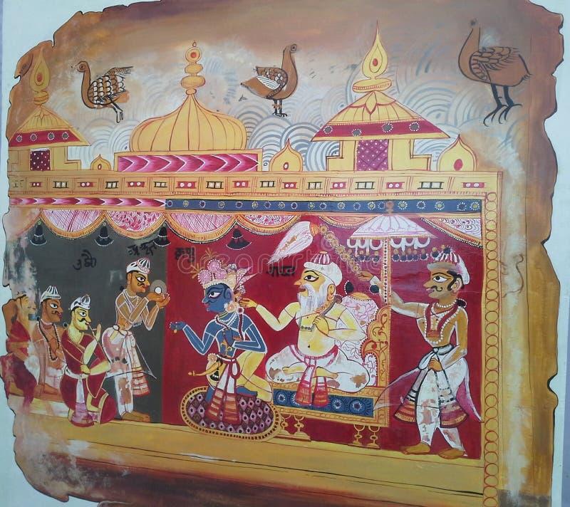 Εκπληκτική ζωγραφική που δείχνει την αρχαία κουλτούρα των Ινδών βασιλιάδων, τζαλαντάρ, παντζάμπ, ινδία από φοιτητή του Υπέροχου Ε στοκ εικόνα με δικαίωμα ελεύθερης χρήσης