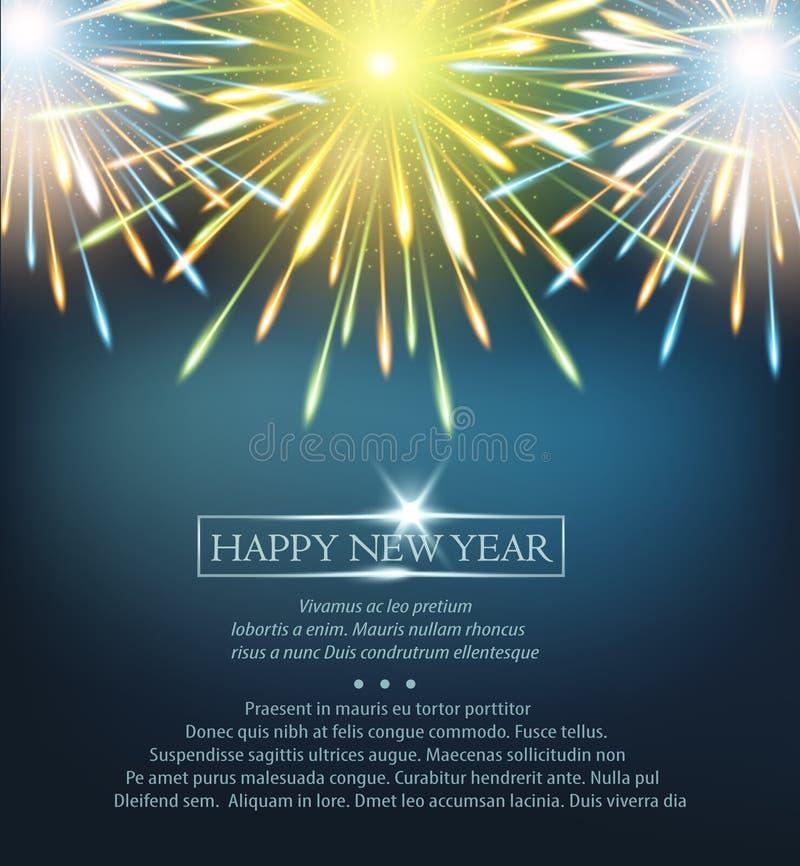 Εκρήξεις πυροτεχνημάτων γαλαζοπράσινες σε μια ευχετήρια κάρτα στην καλή χρονιά ελεύθερη απεικόνιση δικαιώματος