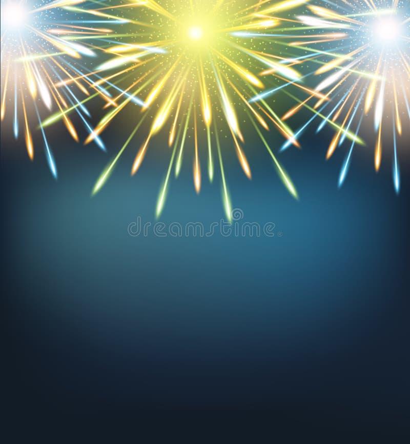 Εκρήξεις πυροτεχνημάτων γαλαζοπράσινες σε μια ευχετήρια κάρτα στο κενό καλής χρονιάς απεικόνιση αποθεμάτων