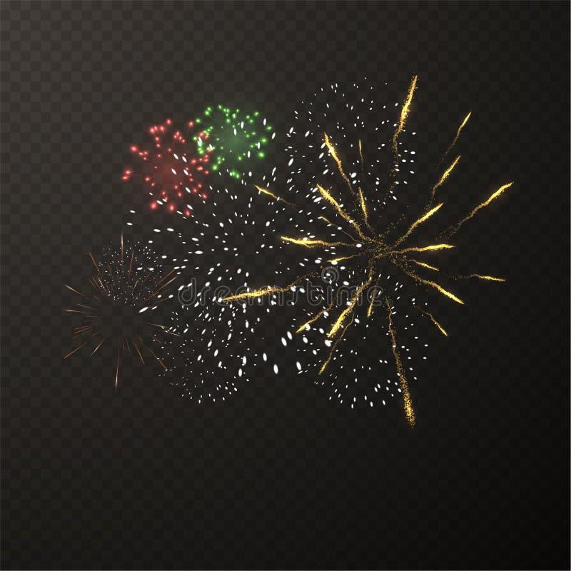 Εκρήξεις πυροτεχνημάτων στο ελεγμένο διανυσματικό υπόβαθρο EPS10 διανυσματική απεικόνιση