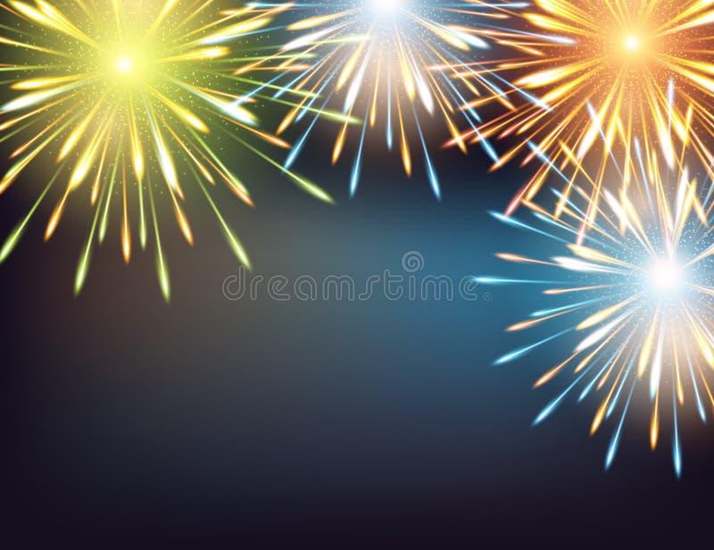 Εκρήξεις πυροτεχνημάτων το πλαίσιο σε μια ευχετήρια κάρτα στην καλή χρονιά απεικόνιση αποθεμάτων