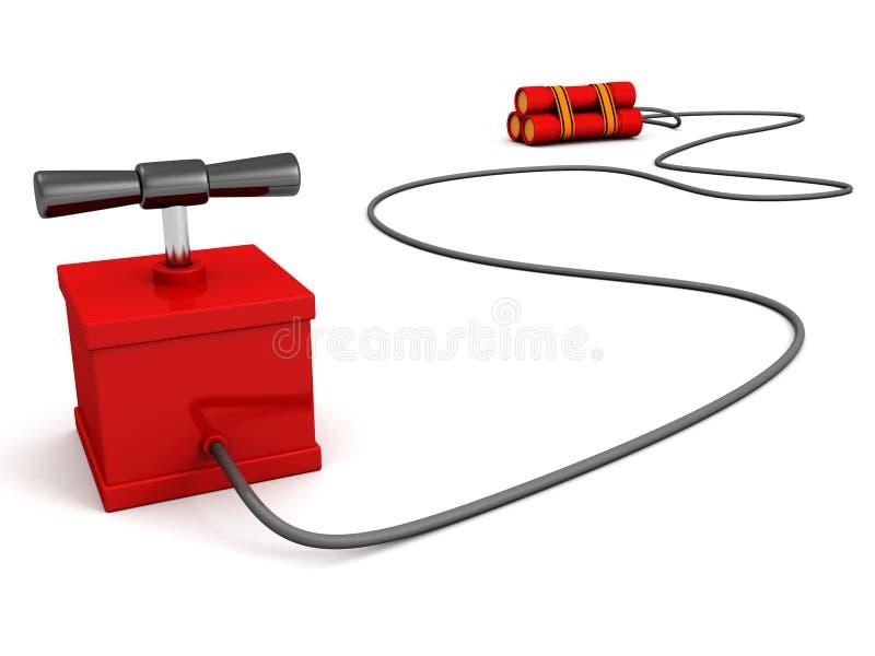 Εκρηκτικά ραβδιά δυναμίτη με τον εκπυρσοκροτήρα στο λευκό στοκ εικόνα με δικαίωμα ελεύθερης χρήσης