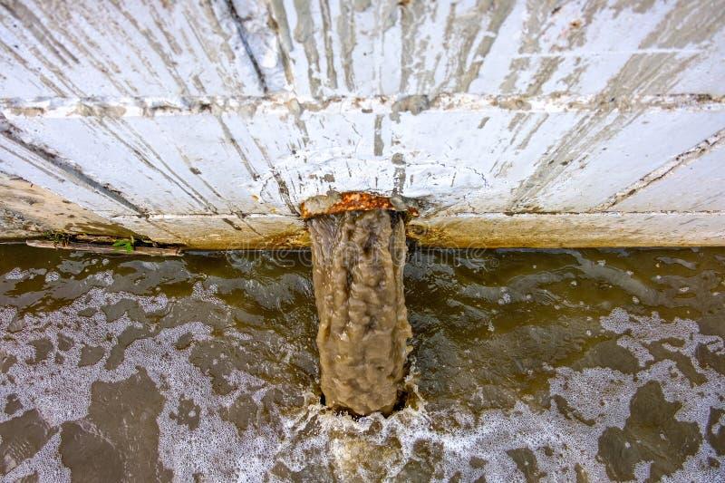 Εκροή αγωγών θύελλας stormwater, αποξήρανση νερού Βρώμικο νερό που απαλλάσσεται στη τοπ άποψη ποταμών στοκ εικόνες με δικαίωμα ελεύθερης χρήσης