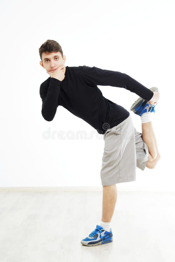 Εκτέλεση χορευτών χιπ χοπ που απομονώνεται πέρα από το άσπρο υπόβαθρο στοκ φωτογραφίες