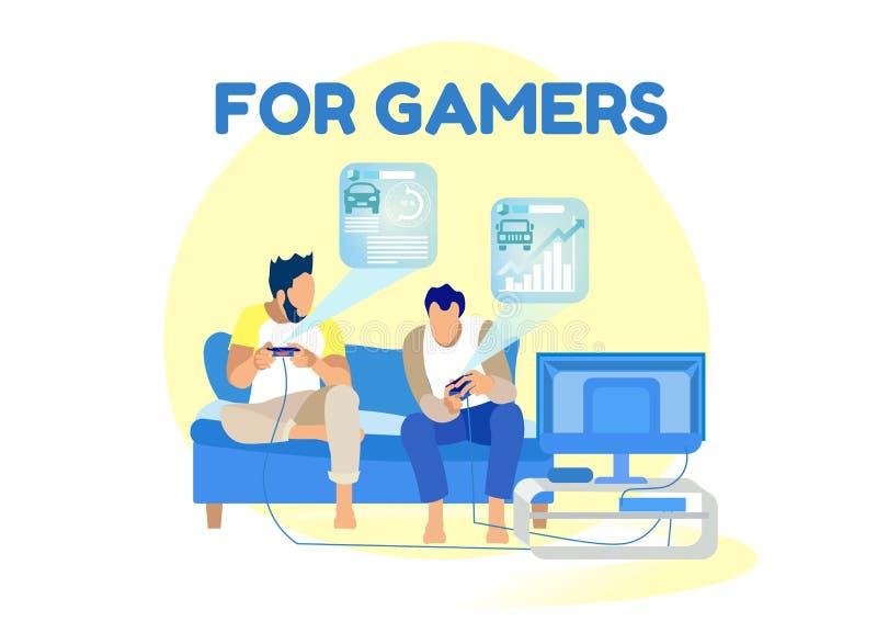 Εκτίμηση παιχνιδιών και διεπαφή Hud για τα κινούμενα σχέδια Gamers ελεύθερη απεικόνιση δικαιώματος