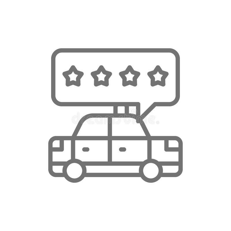 Εκτίμηση υπηρεσιών ταξί, εικονίδιο ποιοτικών γραμμών υπηρεσιών ελεύθερη απεικόνιση δικαιώματος