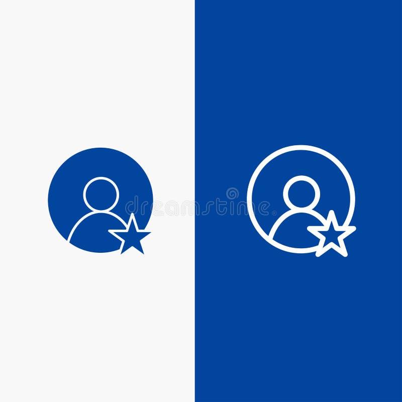 Εκτίμηση, χρήστης, γραμμή σχεδιαγράμματος και στερεά γραμμή εμβλημάτων εικονιδίων Glyph μπλε και στερεό μπλε έμβλημα εικονιδίων G απεικόνιση αποθεμάτων