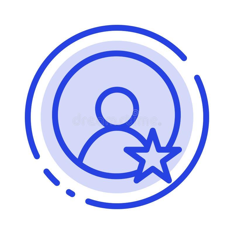 Εκτίμηση, χρήστης, μπλε εικονίδιο γραμμών διαστιγμένων γραμμών σχεδιαγράμματος ελεύθερη απεικόνιση δικαιώματος