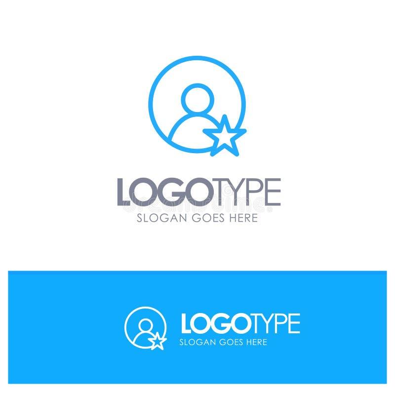 Εκτίμηση, χρήστης, μπλε λογότυπο περιλήψεων σχεδιαγράμματος με τη θέση για το tagline ελεύθερη απεικόνιση δικαιώματος