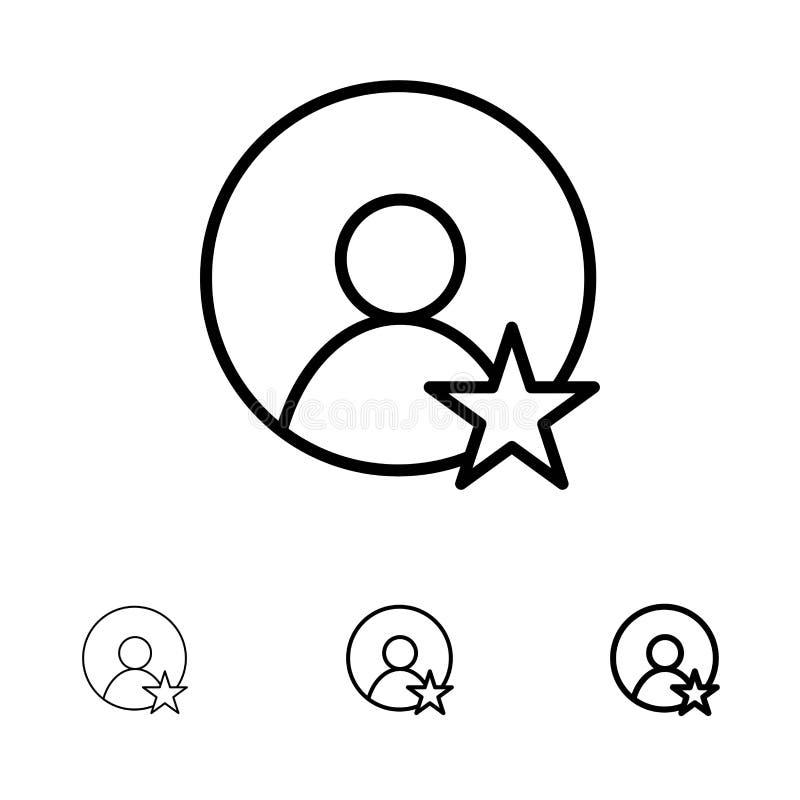 Εκτίμηση, χρήστης, τολμηρό και λεπτό μαύρο σύνολο εικονιδίων γραμμών σχεδιαγράμματος διανυσματική απεικόνιση