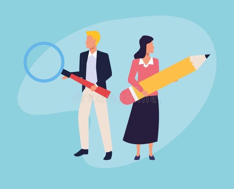 Εκτελεστικά charaters επιχειρησιακών εργαζομένων διανυσματική απεικόνιση