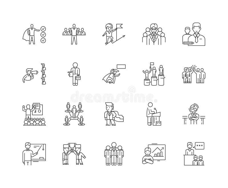 Εκτελεστικά mentoring εικονίδια γραμμών, σημάδια, διανυσματικό σύνολο, έννοια απεικόνισης περιλήψεων ελεύθερη απεικόνιση δικαιώματος