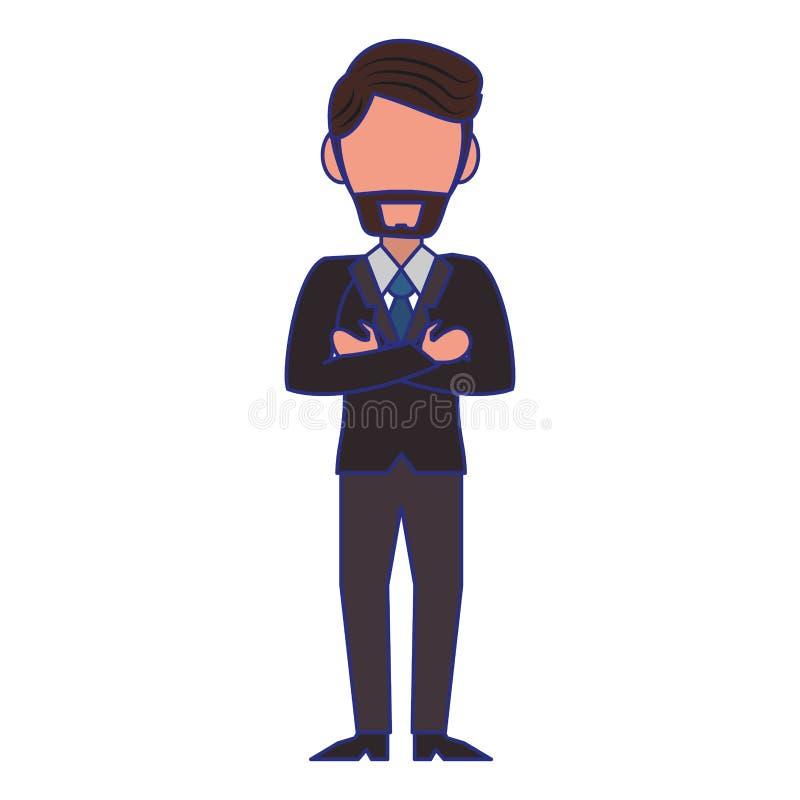 Εκτελεστικές μπλε γραμμές κινούμενων σχεδίων χαρακτήρα επιχειρηματιών απεικόνιση αποθεμάτων