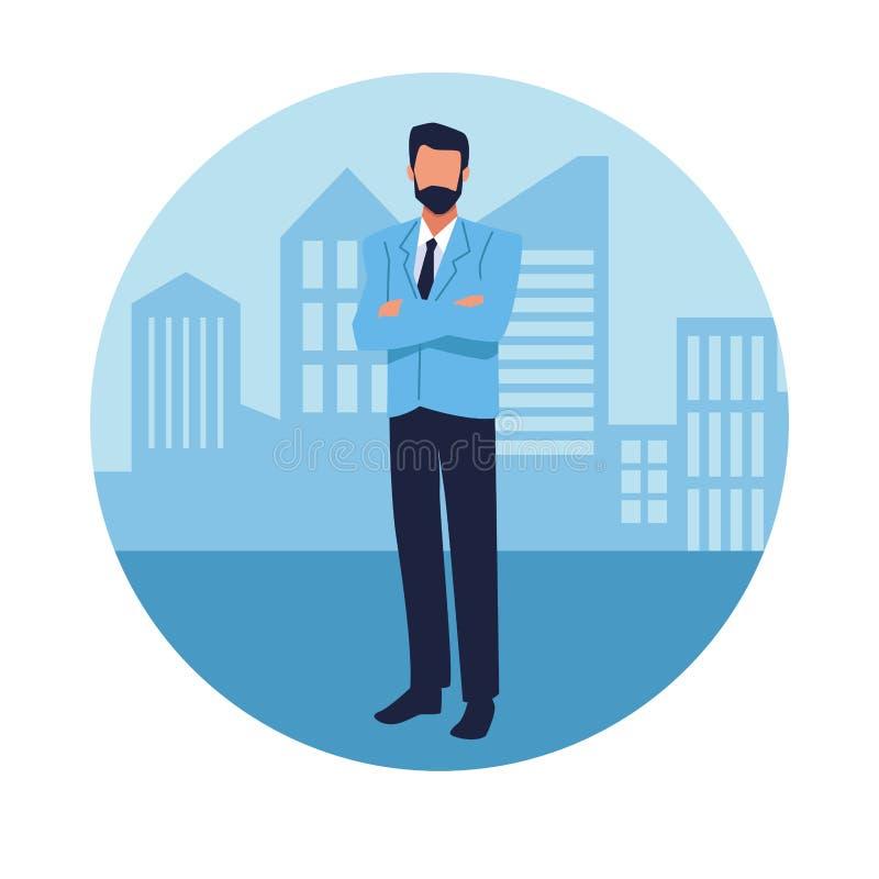 Εκτελεστικός επιχειρηματίας στην πόλη ελεύθερη απεικόνιση δικαιώματος