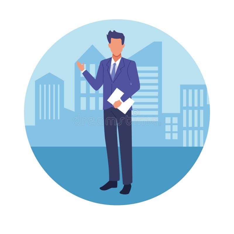 Εκτελεστικός επιχειρηματίας στην πόλη διανυσματική απεικόνιση