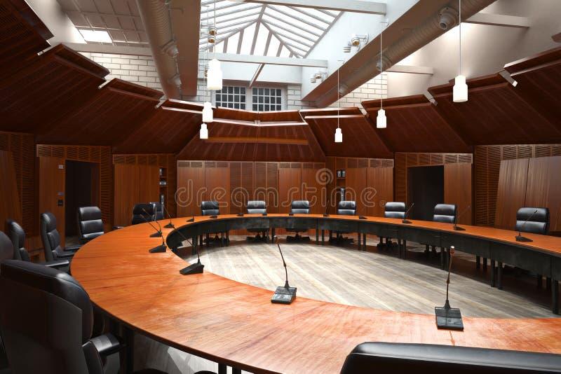 Εκτελεστική σύγχρονη κενή αίθουσα συνδιαλέξεων επιχειρησιακών γραφείων με τον υπερυψωμένο φεγγίτη απεικόνιση αποθεμάτων