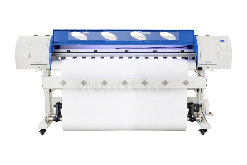 Εκτυπωτής Inkjet μεγάλου σχήματος στο άσπρο υπόβαθρο Βινυλίου μηχανή εντύπων για τη χρήση στη βιομηχανία πινάκων διαφημίσεων αυτο στοκ φωτογραφία