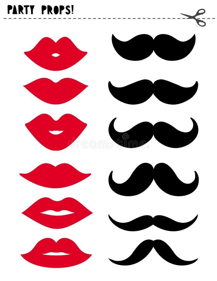 Εκτυπώσιμα διανυσματικά στηρίγματα θαλάμων φωτογραφιών καθορισμένα Κόκκινα χείλια και μαύρο Moustache DIY απεικόνιση αποθεμάτων