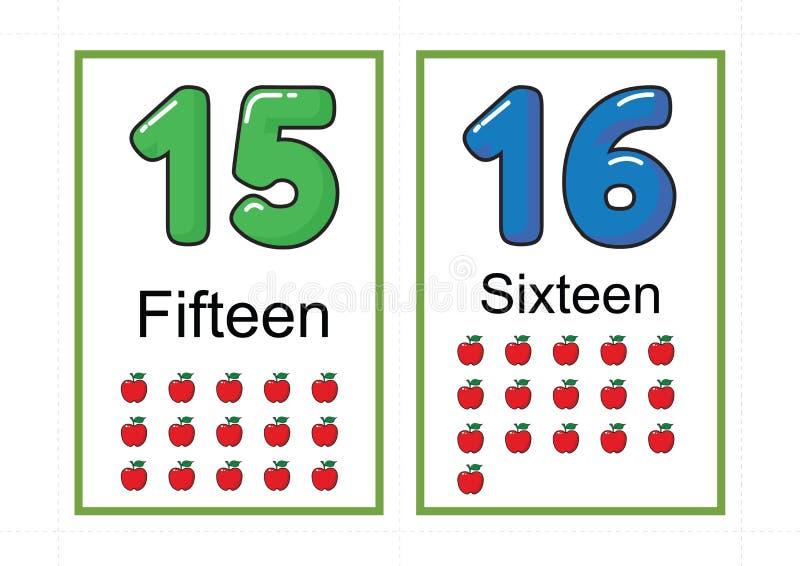 Εκτυπώσιμα flashcards αριθμού για την κάρτα λάμψης αριθμού flashcards αριθμού διδασκαλίας για τον αριθμό διδασκαλίας εύκολο να τυ διανυσματική απεικόνιση