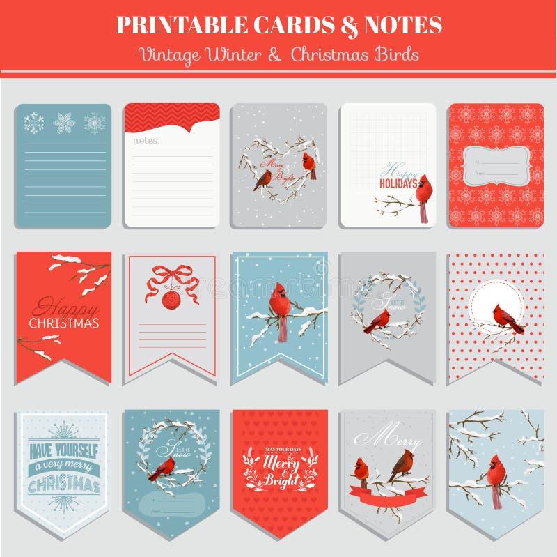 Εκτυπώσιμες κάρτες, ετικέττες και ετικέτες - θέμα Χριστουγέννων απεικόνιση αποθεμάτων