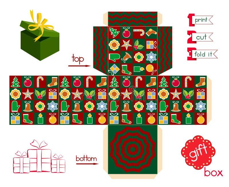 Εκτυπώσιμη εποχή Χριστουγέννων κιβωτίων δώρων διανυσματική απεικόνιση
