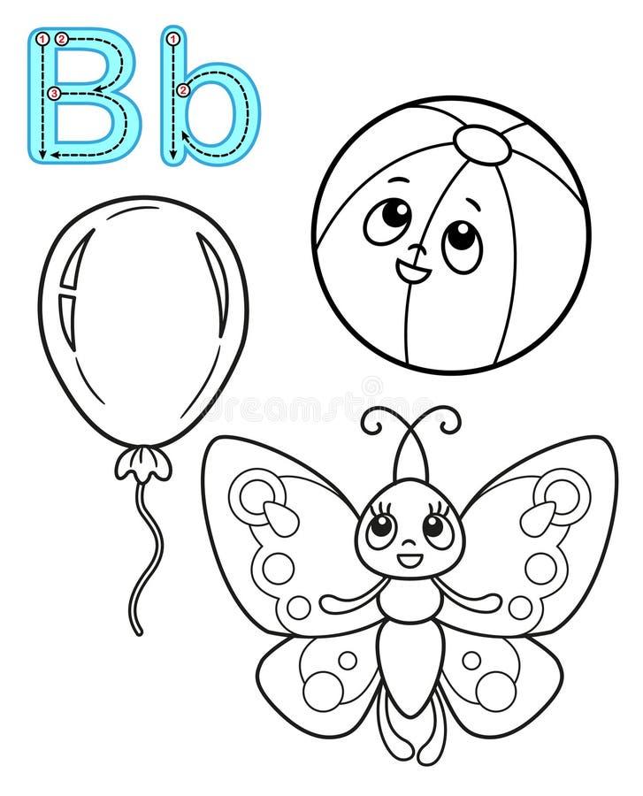 Εκτυπώσιμη χρωματίζοντας σελίδα για τον παιδικό σταθμό και τον παιδικό σταθμό Κάρτα για τη μελέτη αγγλικά o Γράμμα β Πεταλούδα απεικόνιση αποθεμάτων