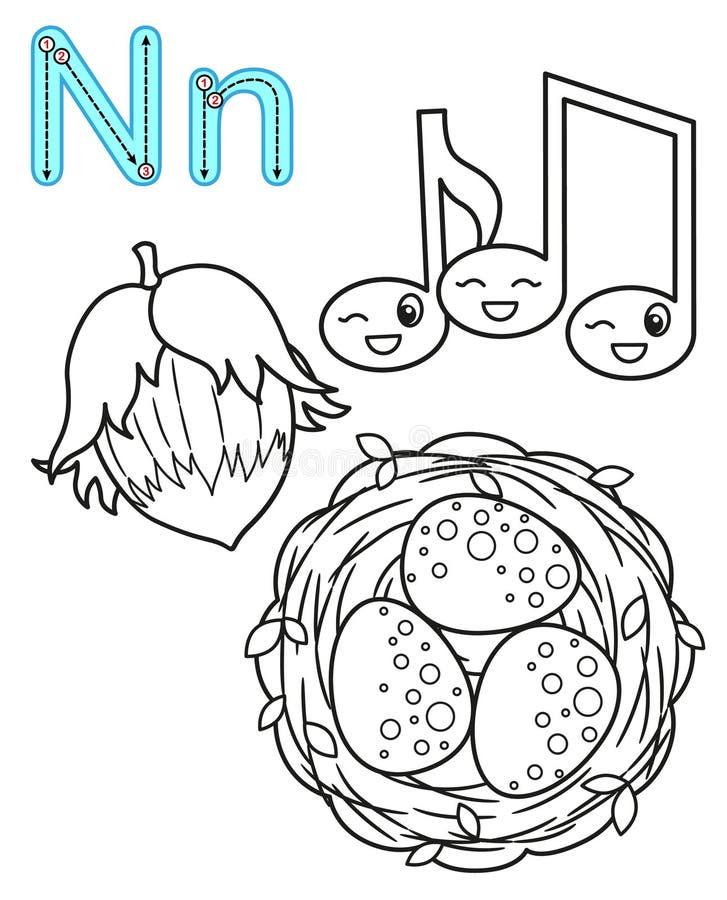 Εκτυπώσιμη χρωματίζοντας σελίδα για τον παιδικό σταθμό και τον παιδικό σταθμό Κάρτα για τη μελέτη αγγλικά o Γράμμα Ν καρύδια, διανυσματική απεικόνιση