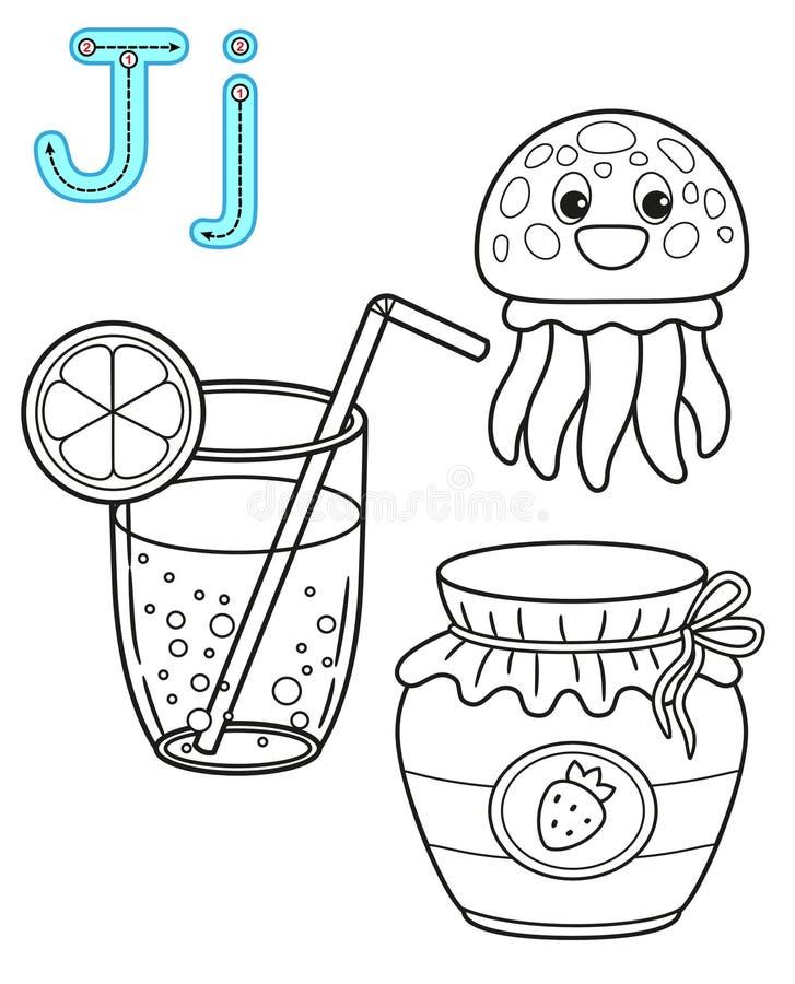 Εκτυπώσιμη χρωματίζοντας σελίδα για τον παιδικό σταθμό και τον παιδικό σταθμό Κάρτα για τη μελέτη αγγλικά o Γράμμα J χυμός, ελεύθερη απεικόνιση δικαιώματος