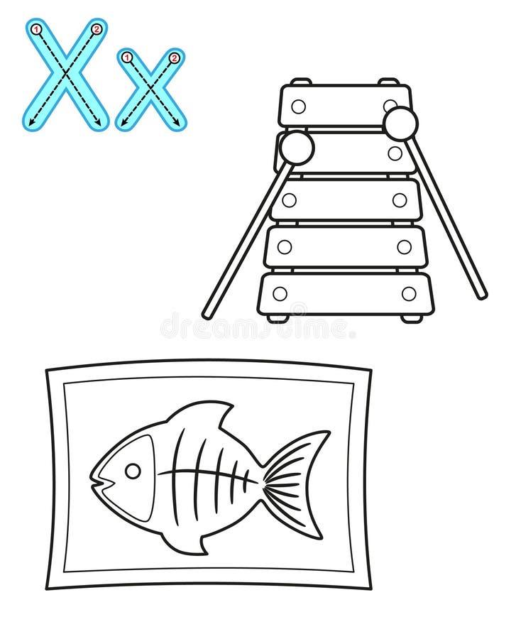 Εκτυπώσιμη χρωματίζοντας σελίδα για τον παιδικό σταθμό και τον παιδικό σταθμό Κάρτα για τη μελέτη αγγλικά o Επιστολή Χ xylophone διανυσματική απεικόνιση