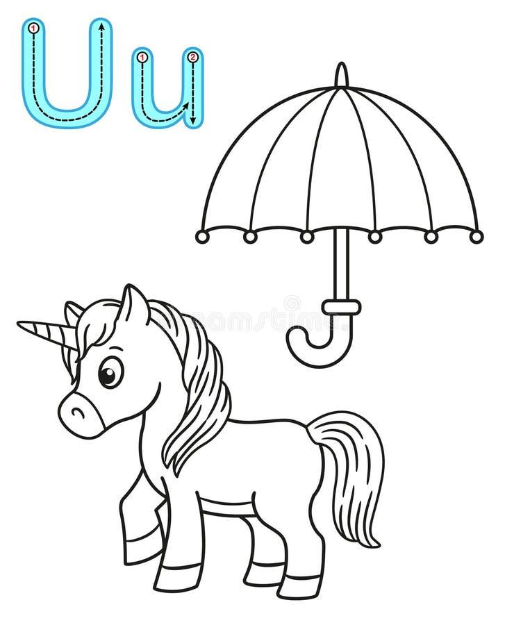Εκτυπώσιμη χρωματίζοντας σελίδα για τον παιδικό σταθμό και τον παιδικό σταθμό Κάρτα για τη μελέτη αγγλικά o Γράμμα U ομπρέλα απεικόνιση αποθεμάτων