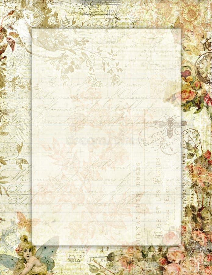 Εκτυπώσιμος εκλεκτής ποιότητας shabby κομψός floral στάσιμος ύφους με τις πεταλούδες ελεύθερη απεικόνιση δικαιώματος
