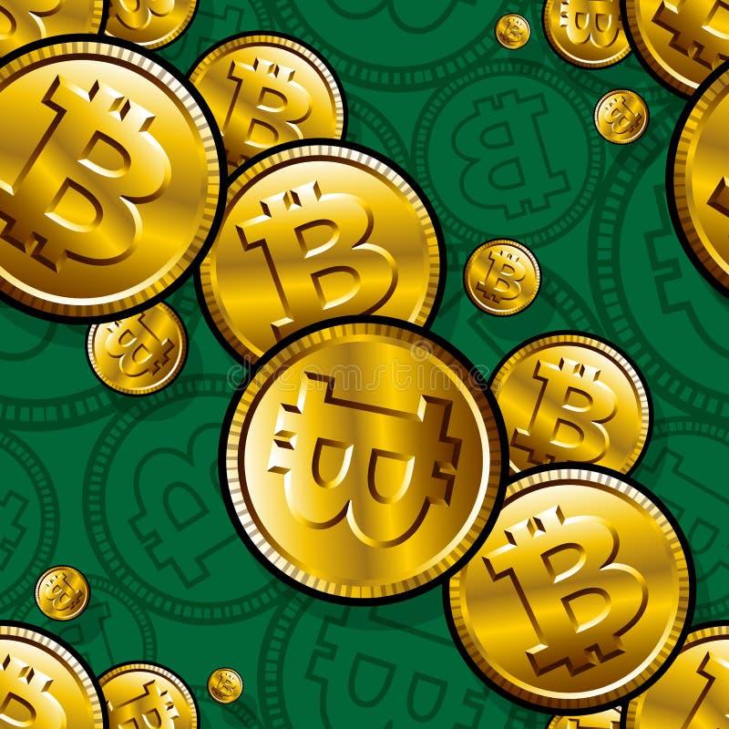 Εκτυπώσιμο άνευ ραφής διανυσματικό σχέδιο των ψηφιακών crypto bitcoin συμβόλων νομίσματος απεικόνιση αποθεμάτων