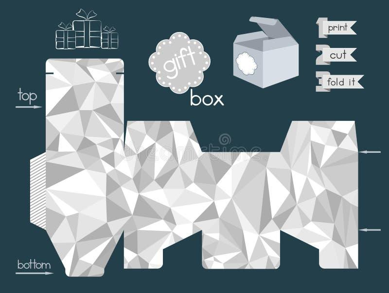 Εκτυπώσιμο κιβώτιο δώρων με την τσαλακωμένη μίμηση σύστασης εγγράφου απεικόνιση αποθεμάτων