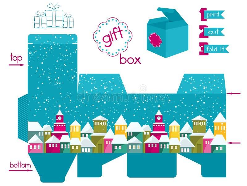 Εκτυπώσιμο κιβώτιο δώρων με τη ζωηρόχρωμη χιονισμένη πόλη απεικόνιση αποθεμάτων