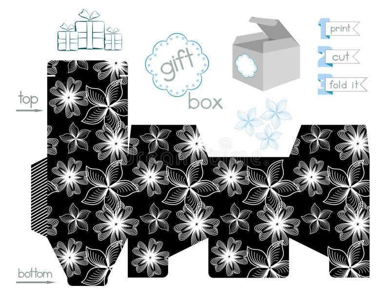 Εκτυπώσιμο κιβώτιο δώρων με το σχέδιο αντίθεσης απεικόνιση αποθεμάτων