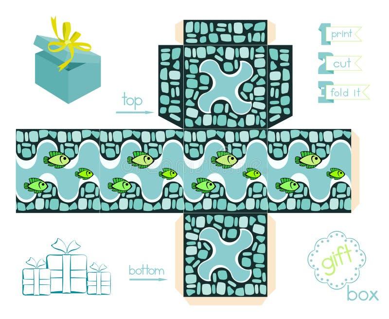 Εκτυπώσιμο κιβώτιο δώρων με το σχέδιο και τα ψάρια μωσαϊκών διανυσματική απεικόνιση