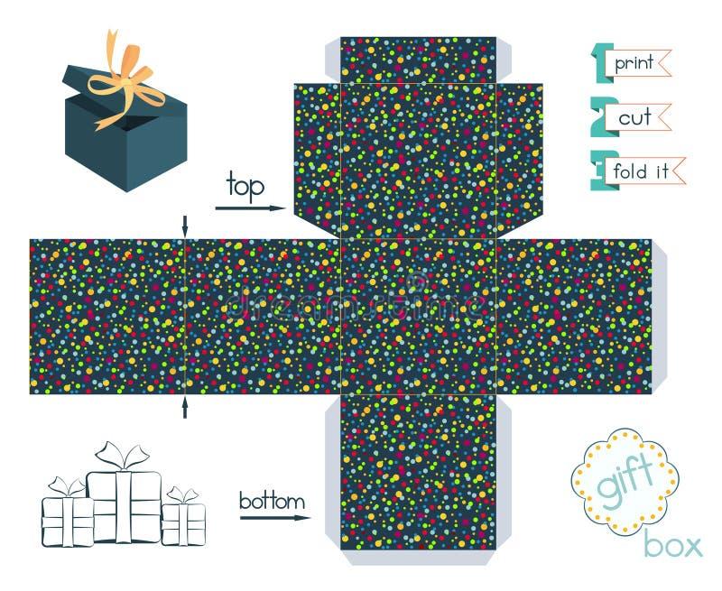 Εκτυπώσιμο κιβώτιο δώρων με το σχέδιο κομφετί απεικόνιση αποθεμάτων
