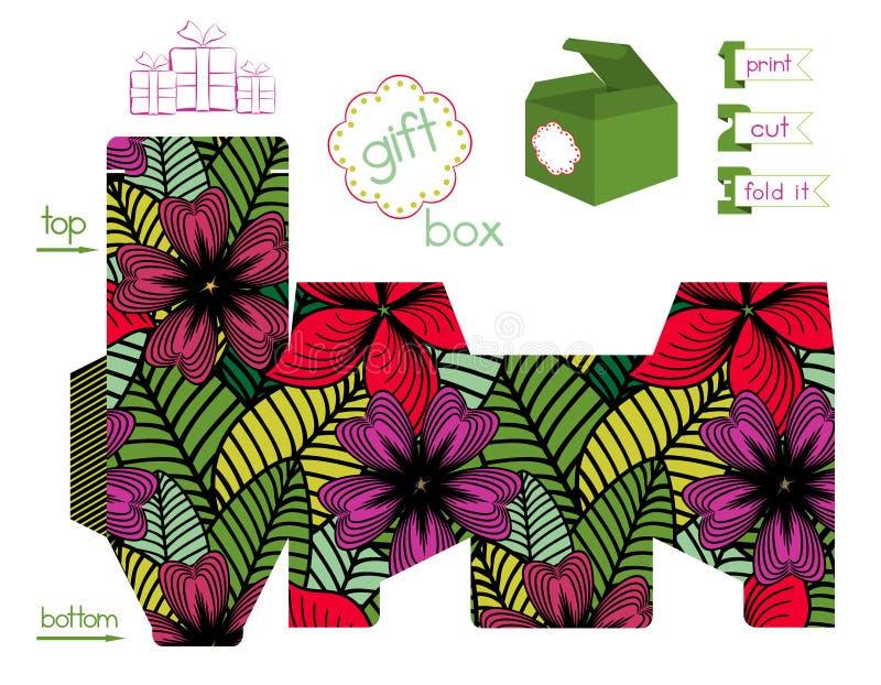 Εκτυπώσιμο κιβώτιο δώρων με το φωτεινό σχέδιο λουλουδιών απεικόνιση αποθεμάτων