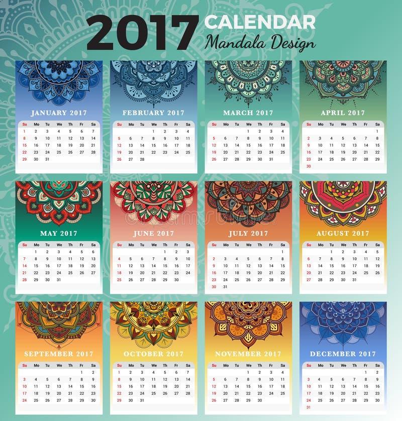 Εκτυπώσιμο μηνιαίο ημερολογιακό 2017 σχέδιο ελεύθερη απεικόνιση δικαιώματος