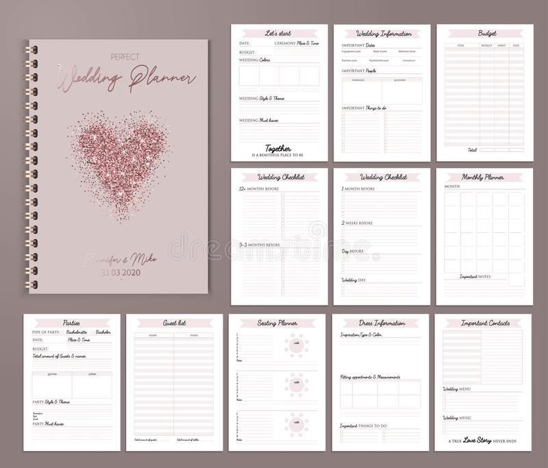 Εκτυπώσιμο σχέδιο γαμήλιων αρμόδιων για το σχεδιασμό με τους πίνακες ελέγχου, σημαντική ημερομηνία διανυσματική απεικόνιση