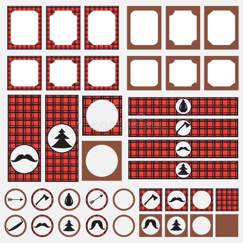 Εκτυπώσιμο σύνολο εκλεκτής ποιότητας στοιχείων κομμάτων υλοτόμων Πρότυπα, ετικέτες, εικονίδια και περικαλύμματα απεικόνιση αποθεμάτων