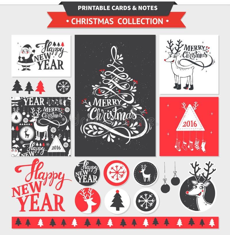 Εκτυπώσιμο σύνολο Χαρούμενα Χριστούγεννας διανυσματική απεικόνιση