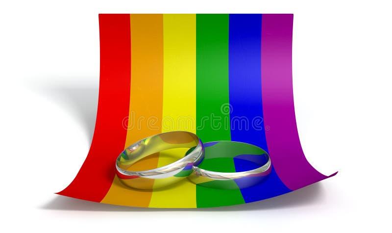 Εκτός από τα δαχτυλίδια ημερομηνίας και το ομοφυλοφιλικό έγγραφο ελεύθερη απεικόνιση δικαιώματος