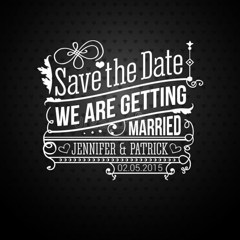 Εκτός από την ημερομηνία για τις προσωπικές διακοπές. Γαμήλια πρόσκληση. Διάνυσμα ι διανυσματική απεικόνιση
