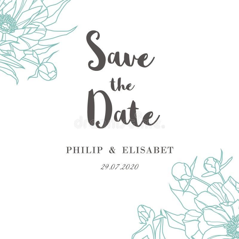 Εκτός από την ημερομηνία με τα peonies το ψαλίδισμα καρτών περιέχει τον εκλεκτής ποιότητας γάμο μασκών αρχείων απεικόνιση αποθεμάτων