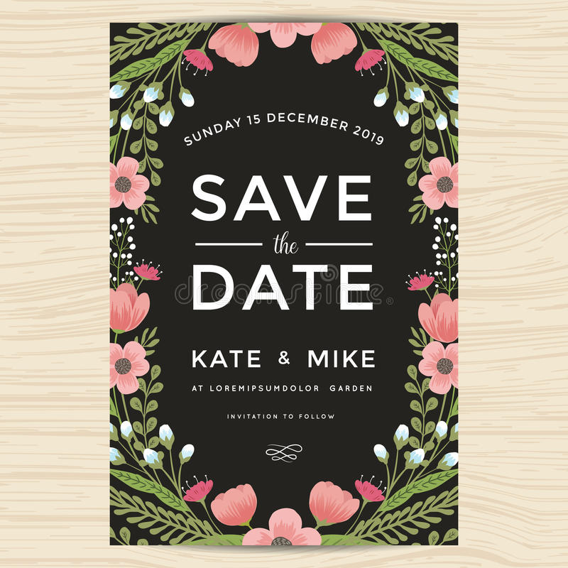Εκτός από την ημερομηνία, πρότυπο καρτών γαμήλιας πρόσκλησης με συρμένο το χέρι εκλεκτής ποιότητας ύφος λουλουδιών στεφανιών Flor απεικόνιση αποθεμάτων